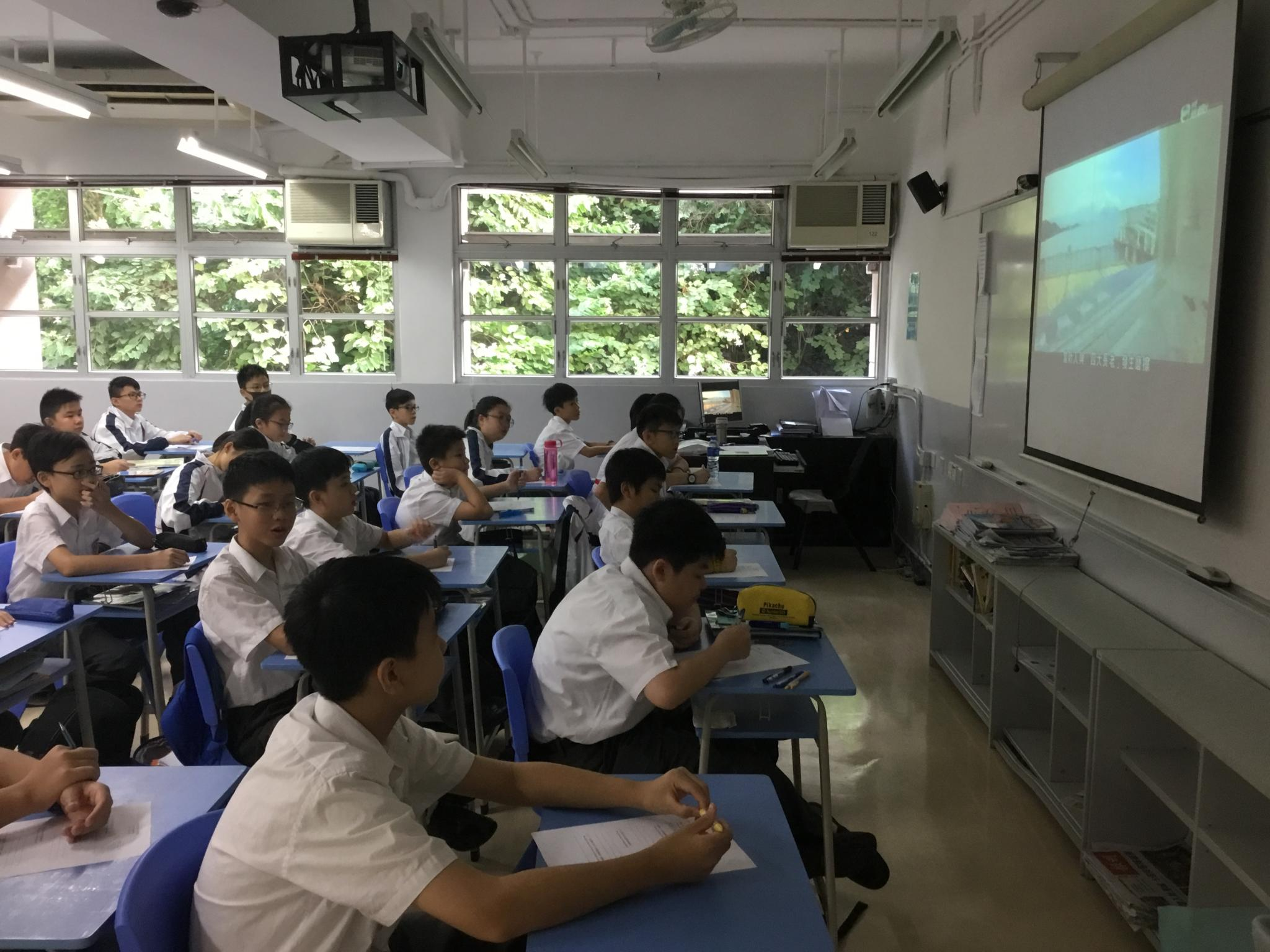 Students were watching the video made by the Career Ambassador.